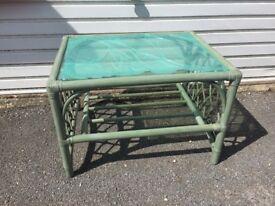 Green wicker coffee table