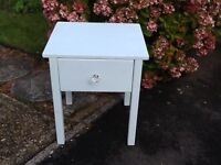 Shabby chic duck egg blue bedside table with drawer