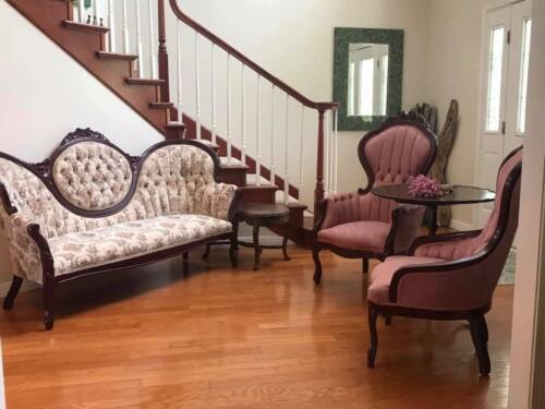 Victorian Furniture Couch His Chair Her Chair  2 Tables 5 pieces