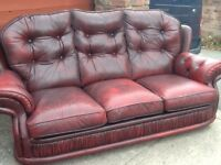 Leather chesterfield style suite 3 seater sofa 1 reclining chair oxblood red £299 the set can delive