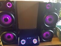 MASSIVE GIGA SOUND HOME PARTY SYSTEM 500W BLUETOOTH USB LIGHT DISCO HI-FI 2 SPEAKERS 2 SUBWOOFERS