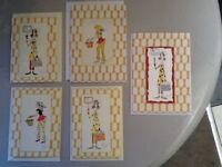 Hand made vintage cards. Selection of five.