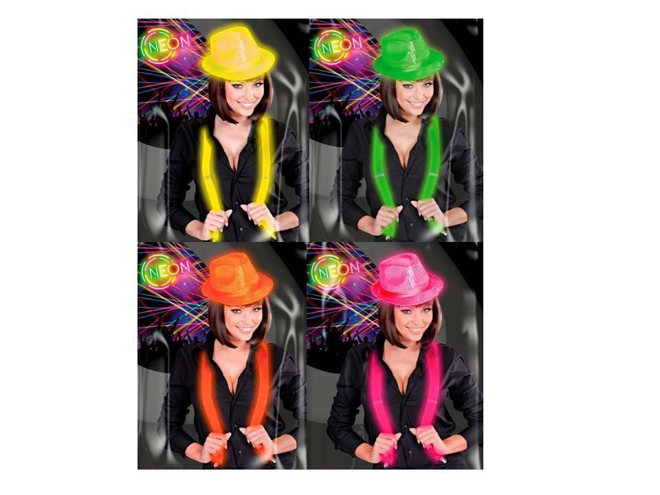 Pailettenhut mit Y Hosenträger Fedora-Hut Neon Karneval Mottoparty Fasching, (K)