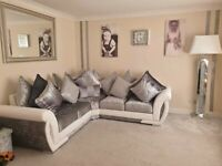 BRAND NEW SHANNON CRUSH VALVET CORNER OR 3+2 SEATER SOFA SET AVAILABLE IN STOCK