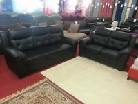 x6 brand new 3 and 2 designer black leather sofas