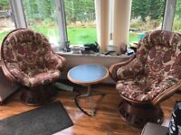 swivle and rocking conservatory chairs + occasion table