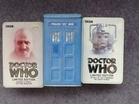 3 limited editions Dr Who VHS tapes in collectible tins