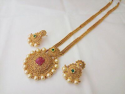 Indian Jewelry Long Necklace bollywood Ethnic Gold Pated Traditional Necklace