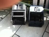 TWO PETROL LAWNMOWER GRASS BOXES