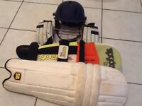 Cricket batting helmet, pads and gloves