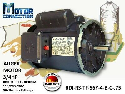 34 Hp Electric Motor Auger Motor 1800rpm Single Phase 56y Frame