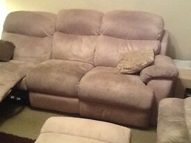 Beige 3 seater recliner - free for collection