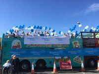 Event volunteer at the Great South Run cheer bus