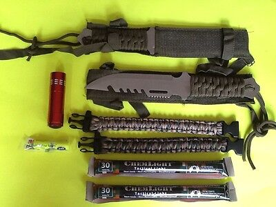 Emergency Survival Gear Kit Knives Paracord Light Doomsday Prepper Camping EMP