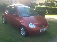 Ford KA Zetec 1.3 in copper red with leather trim and sunroof 2008/08 plate