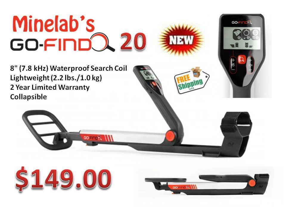 "Minelab Go-Find 20 Metal Detector ""Low Price w/ High End Performance"" Ships FREE"