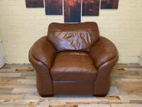 Deeply Comfortable Brown Leather Armchair