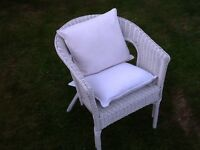 White Wicker Chair with cushions