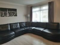 LUXURY REIDS HUGE BLACK LEATHER CORNER SUITE SOFA