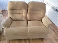 CAN DELIVER - 2-SEATER SHERBORNE CREAM FABRIC SOFA IN VERY GOOD CONDITION