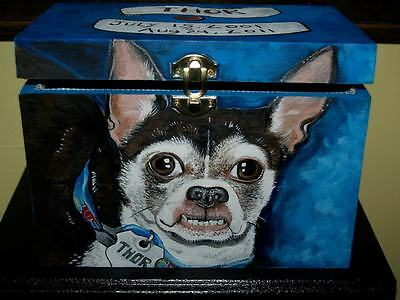 Custom hand painted dog urn portrait memorial Wood box Pet URN Chihuahua urn