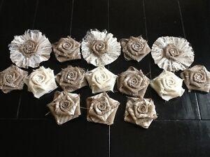 15 Burlap Flowers Tan Stripe, Ivory Lace Shabby Chic Rustic Wedding Cake Table