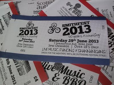 Custom printed event tickets x10 (9p per ticket!)