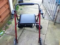 4 WHEELED WALKER WITH SEAT AND BASKET IN RED