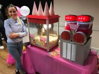 Popcorn , Candyfloss , Slush , Sweet Cart for Hire . Kids party , weeding , baby shower,