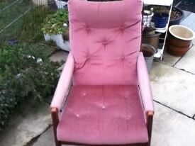 HIGH SEAT FIRE SIDE CHAIR IN PINK AND WOOD FRAME