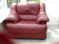 Burgundy soft leather armchair