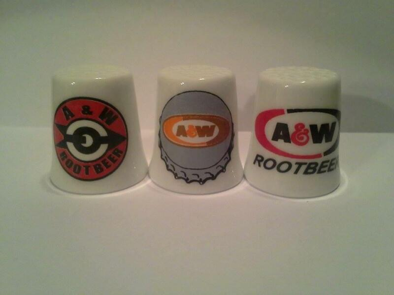Set of 3 A & W Rootbeer Collectible Porcelain Thimbles