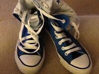 Blue Converse hi-tops size 4..