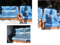 REDUCED..BEAUTIFUL BLUE LEATHER 3 SEATER SOFA 2 CHAIRS WITH SOLID WOOD FRAME AND UNDER DRAWERS