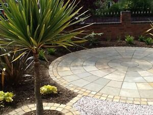 Limestone Sandstone paving patio Indian natural slabs flags 3m circle