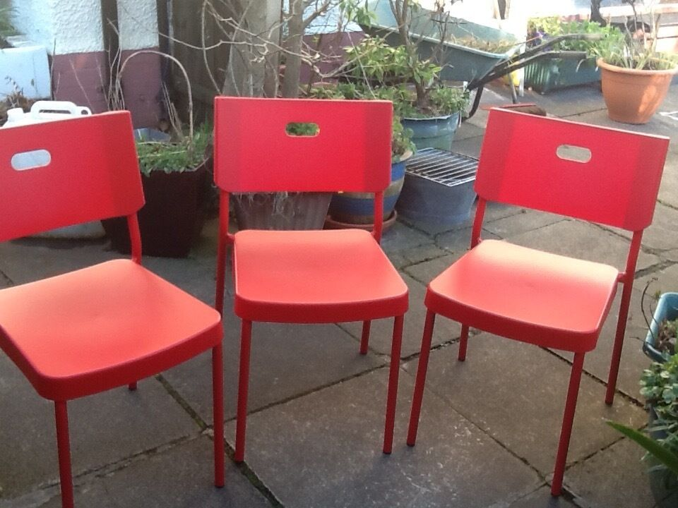 Ikea 3 Red Dining Room Chairs 30 In Downpatrick County