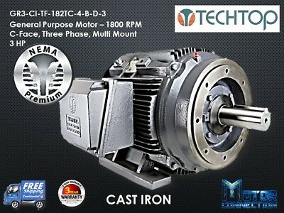 3 Hp Electric Motor Gen Purp 1800 Rpm 3-phase 182tc Cast Iron Nema Prem