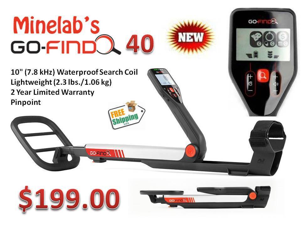 "Minelab Go-Find 40 Metal Detector ""Low Price w/ High End Performance"" Ships FREE"