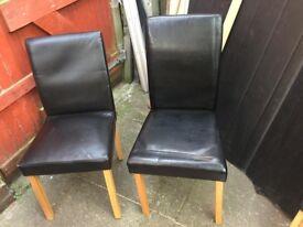 Black chairs ten pound each