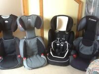 Group 2 3 (4yrs to 12yrs) car seats -several to choose from-all checked,washed and cleaned