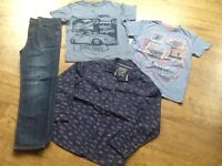 4 BOYS CLOTHES AGE 11 YRS ( 2 TSHIRTS, SHIRT & PAIR ANIMAL JEANS ) VERY GOOD CONDITION