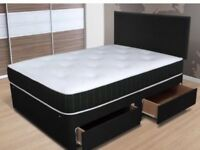 DIVAN BED 4 DRAWERS ORTHOPAEDIC MEMORY MATRESS FREE HEADBOARD DELIVERY AVALIABLE BRAND NEW