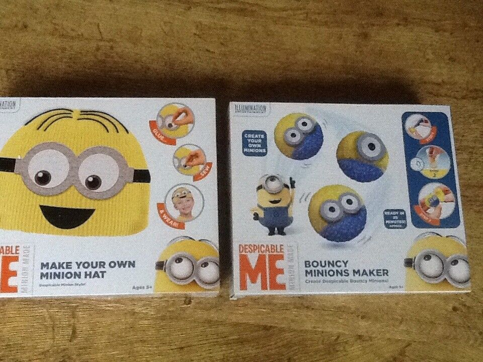 2 NEW DESPICBLE ME MINION CRFT SETS AGES 5+ MAKE YOUR OWN BEANIE HAT & MAKE YOUR OWN BOUNCY BALLS