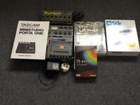Tascam Porta one 4 track,Phat boy Midi Channel,Roland R-Mix and other software.
