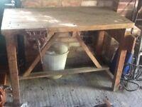 Heavy duty wooden workbench