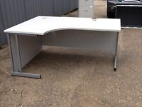 Large light grey office desk