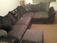 DFS left handed corner sofa with storage puff