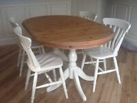 Hand painted Cream Solid Pine Dining Table and 6 Chairs plus Matching Mirror