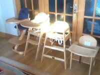 Wooden highchairs-several makes and models available-from £30 upto £65 each