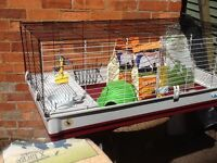 Large Guinea pig/ rabbit cage, with accessories - food, bedding, igloo, water bottle, comb, clippers
